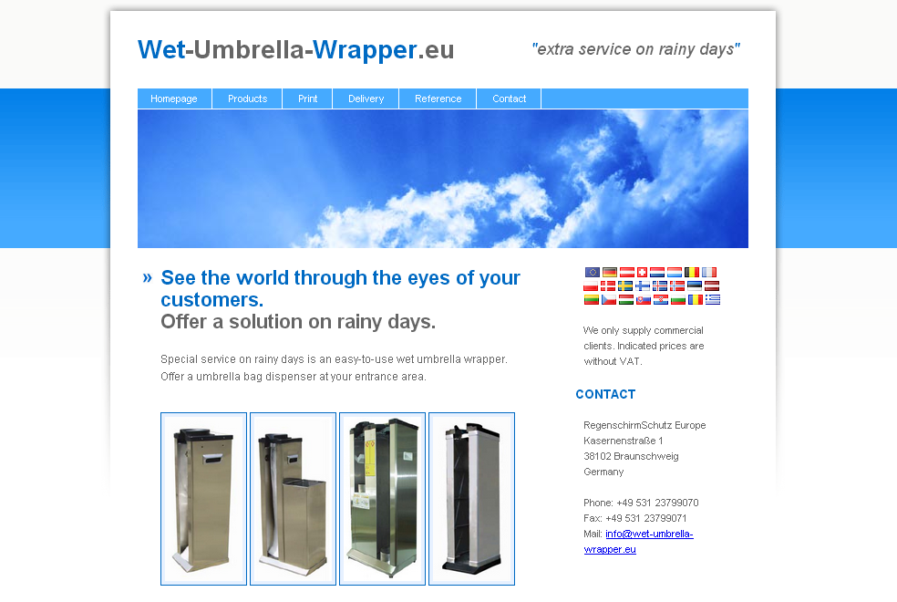 Wet Umbrella Wrapper Webseite